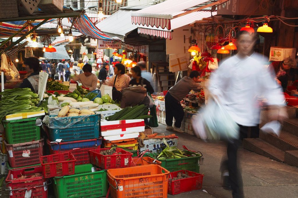 Stock Photo: 1609-34230 Vegetable stall on Graham Street, Central, Hong Kong, China