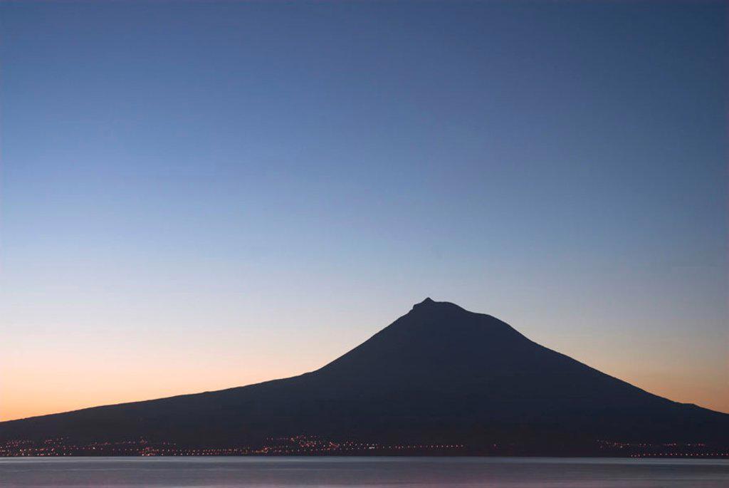 Volcanic island of Pico from Horta, Faial Island, Azores, Portugal : Stock Photo