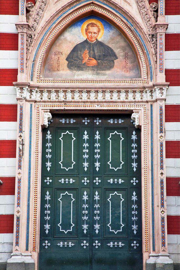 Stock Photo: 1609-34698 Colombia, Bogota, La Candelaria, Gates of Iglesia de Nuestra Senora del Carmen