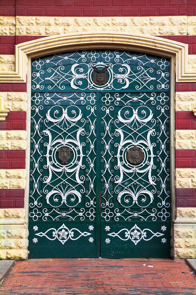 Colombia, Bogota, La Candelaria, Gates of Iglesia de Nuestra Senora del Carmen : Stock Photo