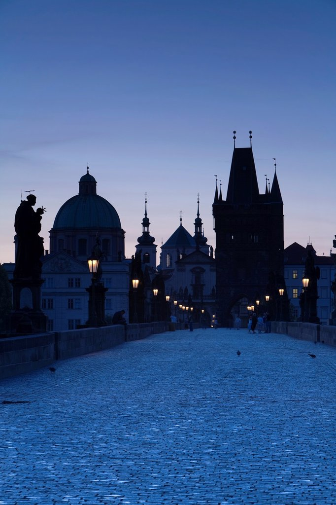 Old Town & Charles Bridge at Dawn, Prague, Czech Republic : Stock Photo