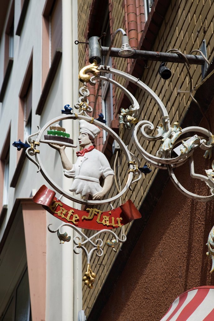 Germany, Rhineland_Palatinate, Mosel River Valley, Cochem, Bakeshop sign for Cafe Flair : Stock Photo