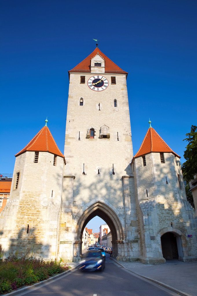 Cars pass under the Eastern Gate, Regensburg, Bavaria, Germany : Stock Photo