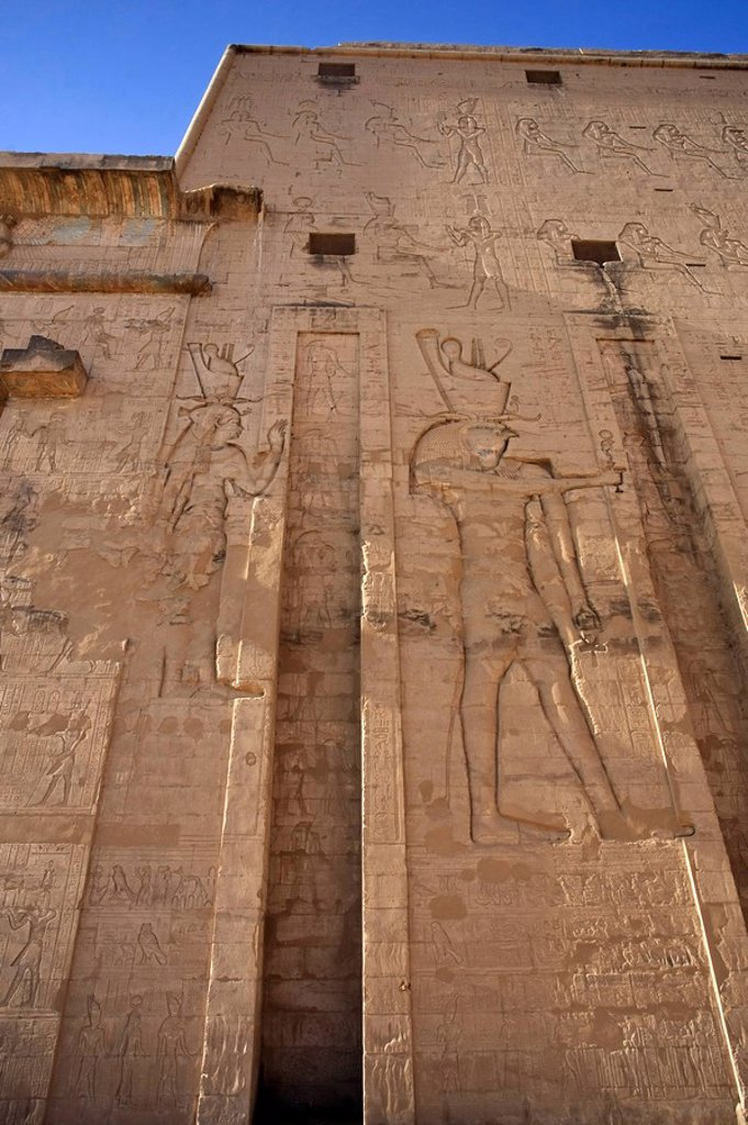 Egypt, Edfu, Temple of Orus the Hawk God, Protector of Osiris : Stock Photo