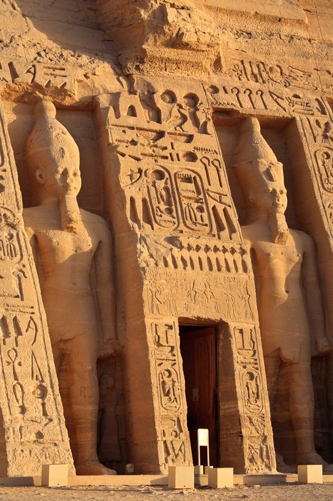 Egypt, Abu Simbel, Temple of Nefertari and Hathor : Stock Photo