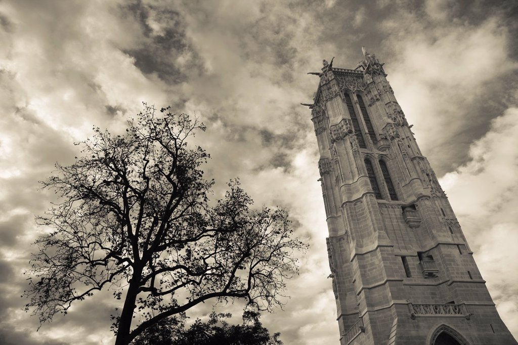 Stock Photo: 1609-36222 France, Paris, Tour St. Jacques tower, former 16th century church belfry