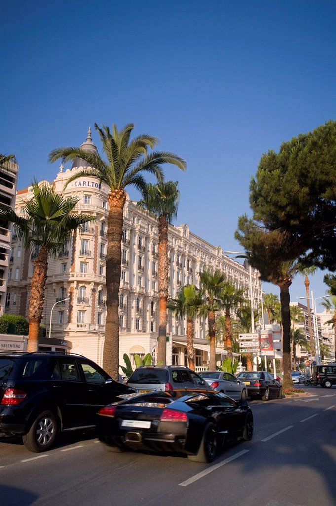 Stock Photo: 1609-36409 Boulevard de la Croisette and Carlton Hotel, Cannes, Cote D´Azur, France