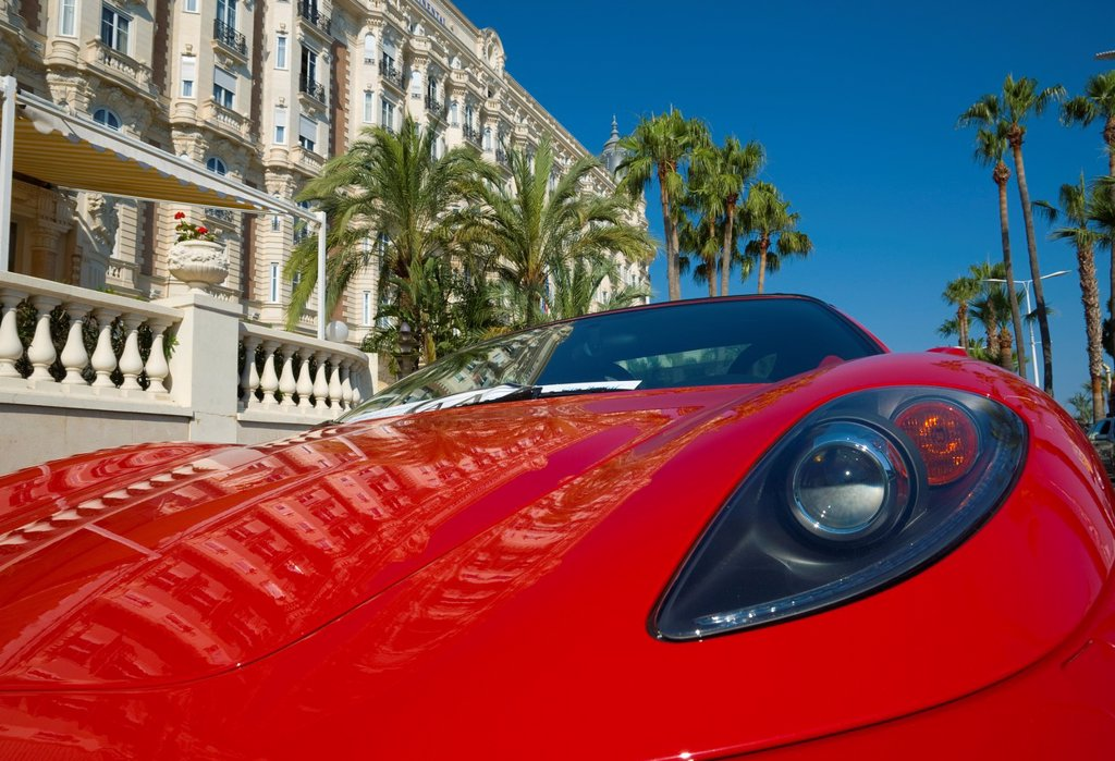 France, Provence_Alpes_Cote d´Azur, Cannes, Boulevard de la Croisette, Carlton Hotel : Stock Photo