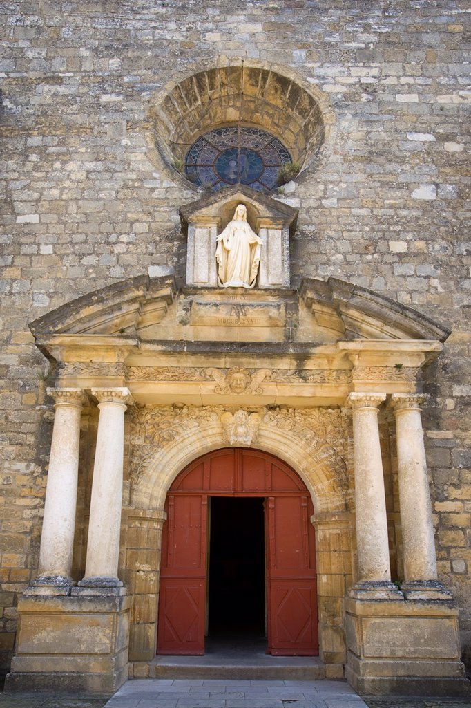 Stock Photo: 1609-36473 Church doorway, Domme, Dordogne, Aquitaine, France