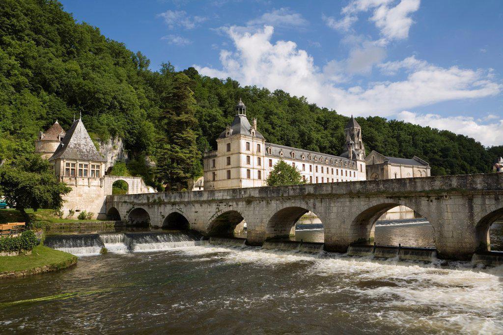 Stock Photo: 1609-36482 Brantome Abbey, Dordogne, France
