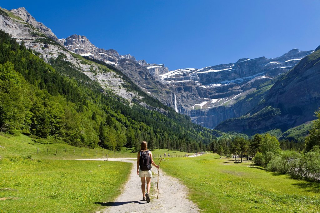 Walker, Cirque De Gavarnie, Pyrenees National Park, Hautes_Pyrenees, Midi_Pyrenees, France, MR : Stock Photo