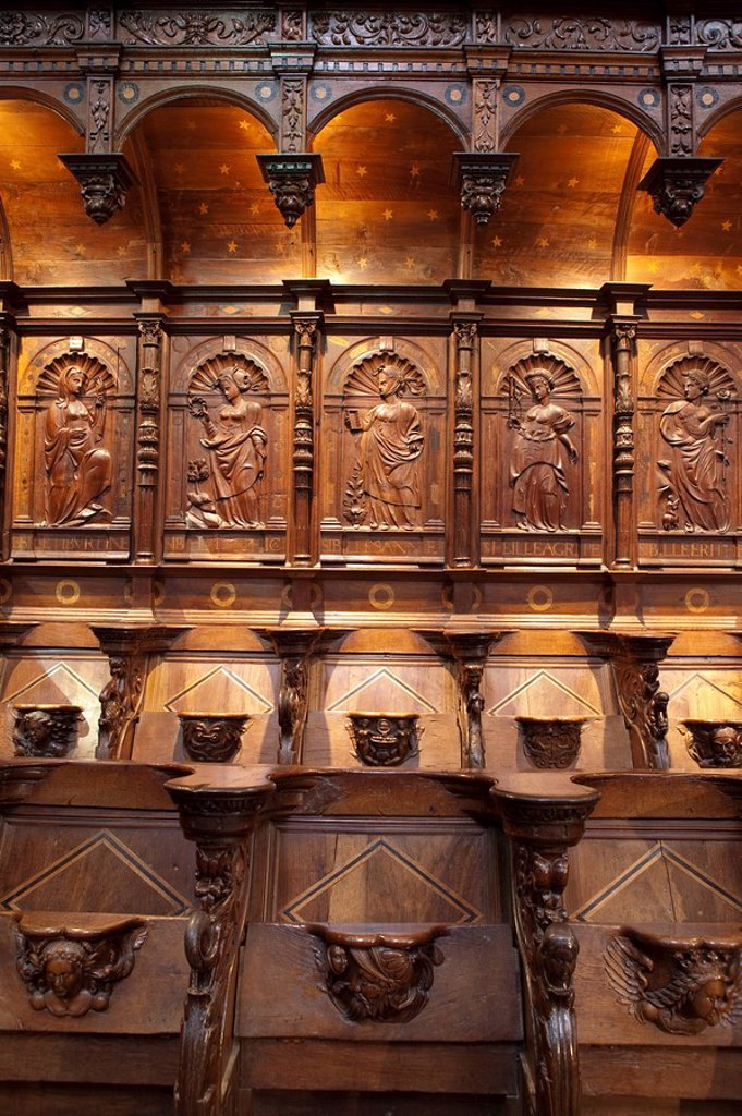 Central Choir carved stalls, St Bertrand De Comminges, Haute_Garonne, Pyrenees, France : Stock Photo