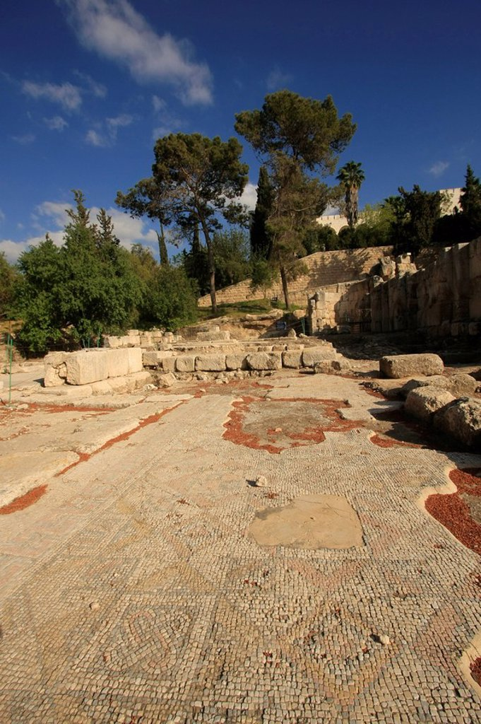 Stock Photo: 1609-36791 Israel, Shephelah, ruins of a Byzantine_Crusader basilica at Emmaus_Nicopolis, Mosaic