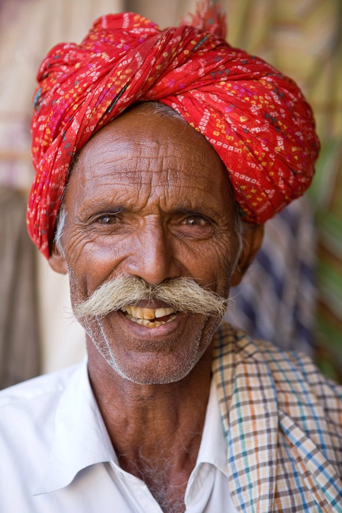 Portrait of Local Man in Traditional Dress, Jaisalmer, Rajasthan, India : Stock Photo