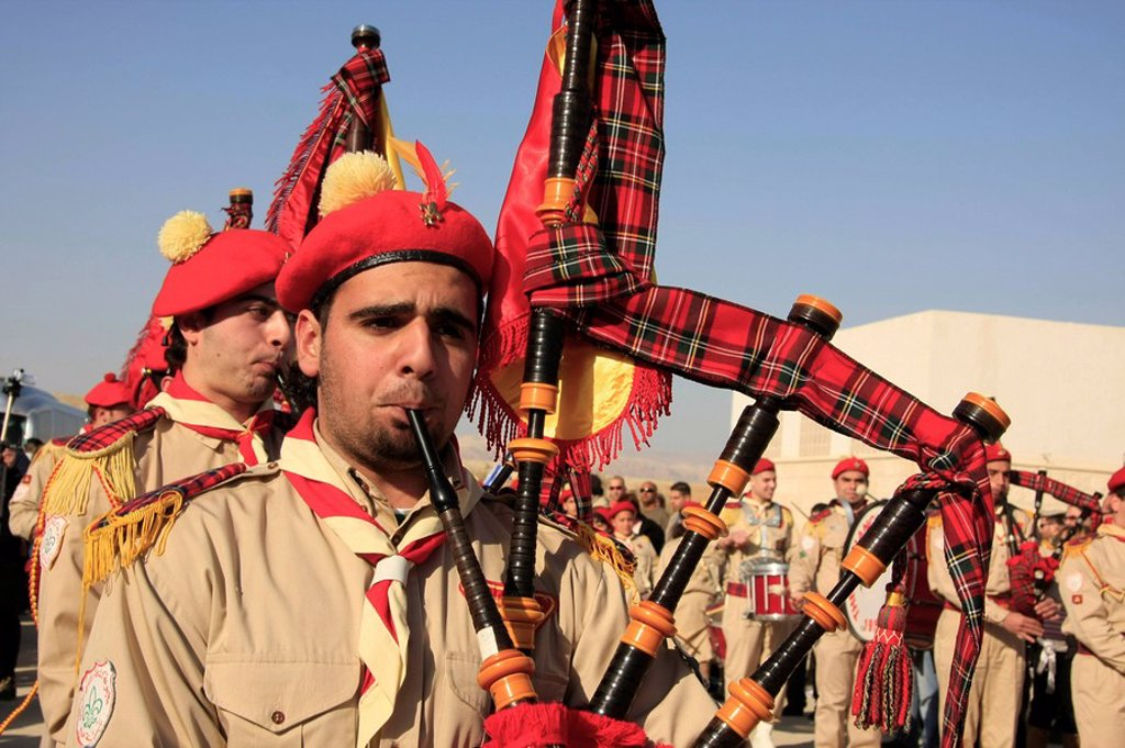 Israel, Jordan Valley, Qasr al Yahud. Palestinian band celebrates Theophany by the Jordan River : Stock Photo