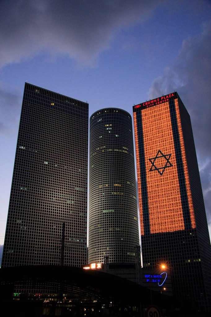 Israel, Tel Aviv, an illuminated Israeli flag at Azrieli Center on Independence day : Stock Photo