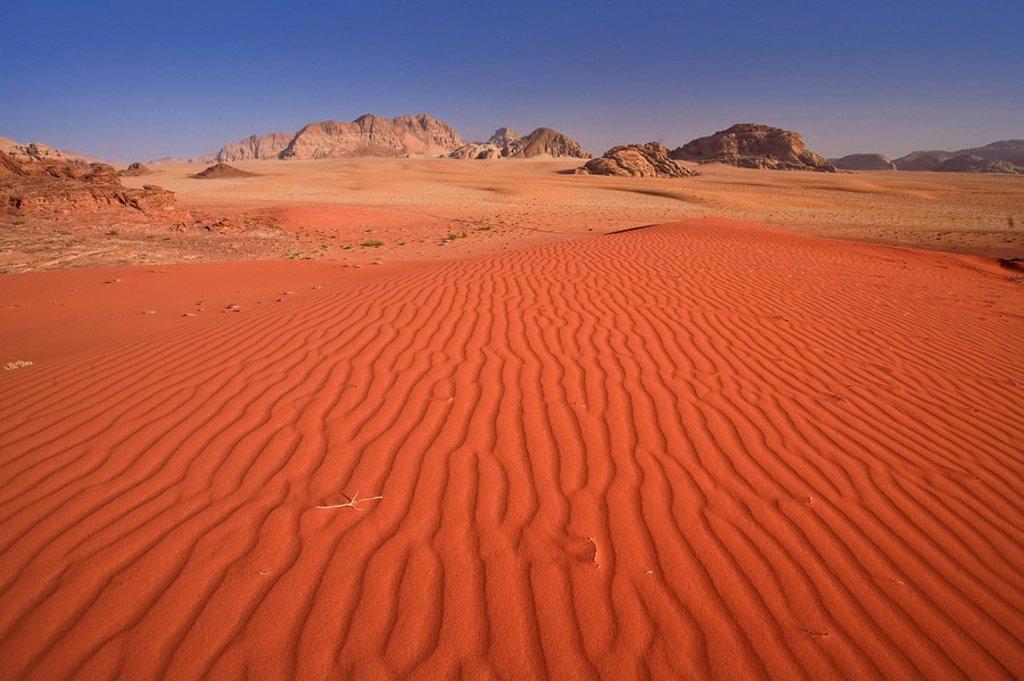 Wadi Rum Desert and Jebel Qattar mountain, Jordan : Stock Photo