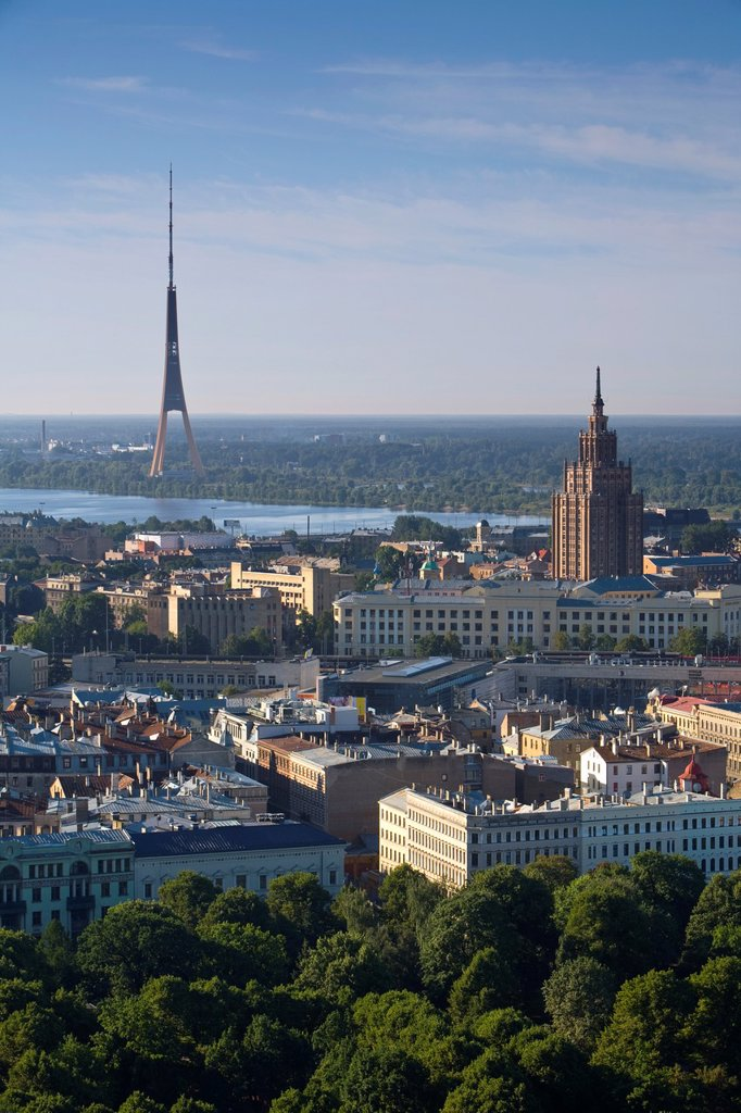 Stock Photo: 1609-38663 Academy of Sciences Building & Communications Tower, Riga, Latvia