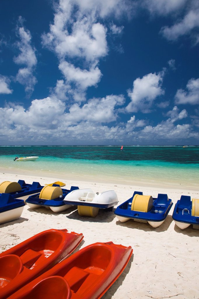 Mauritius, Eastern Mauritius, Belle Mare, watercraft for rent : Stock Photo