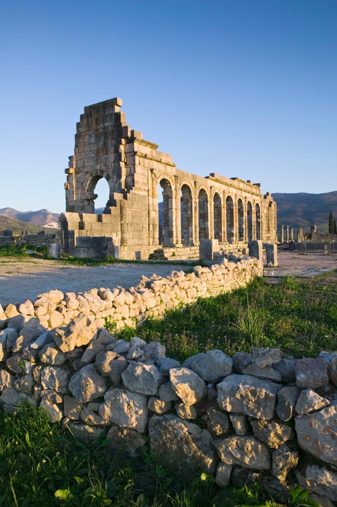 Basilica Ruins, Roman town of Volubilis, Morocco : Stock Photo