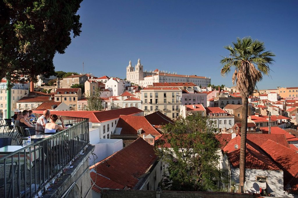 Stock Photo: 1609-39399 Sao Vicente de Fora Church and Alfama District, Lisbon, Portugal