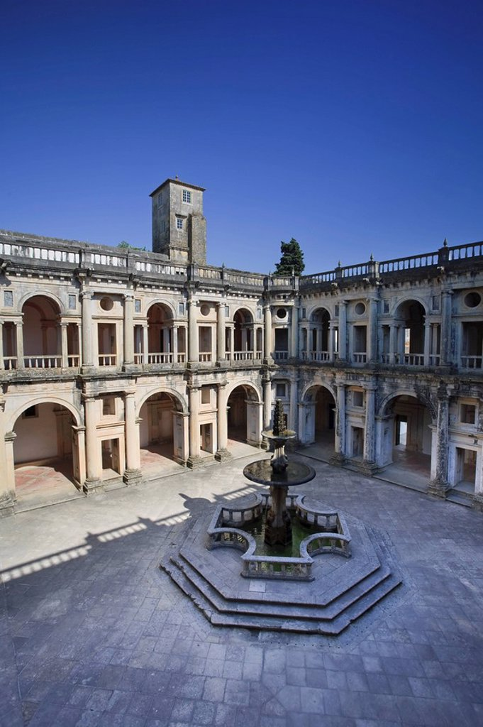Main Cloister, Convento de Cristo UNESCO world Heritage, Tomar, Ribatejo, Portugal : Stock Photo