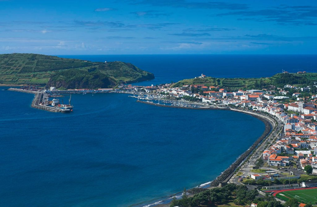 Harbour & town of Horta, Faial Island, Azores, Portugal : Stock Photo