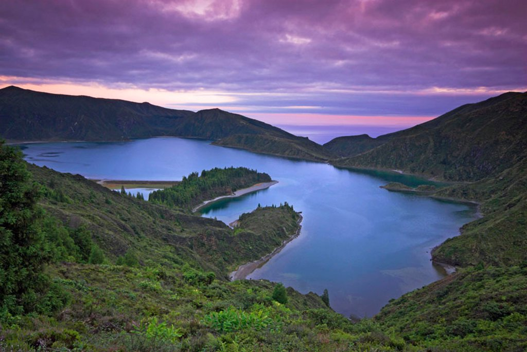 Lagoa do Fogo, Sao Miguel Island, Azores, Portugal : Stock Photo