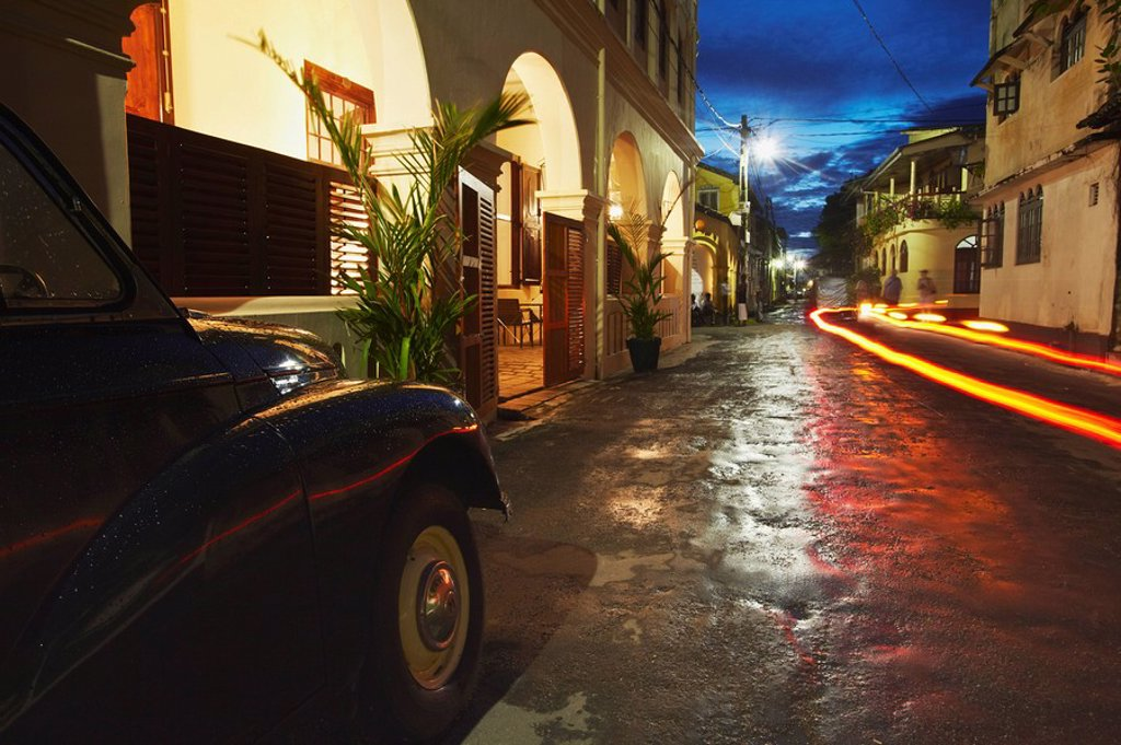 Stock Photo: 1609-40023 Morris Minor outside The Fort Printers Hotel in Galle Fort, Galle, Sri Lanka