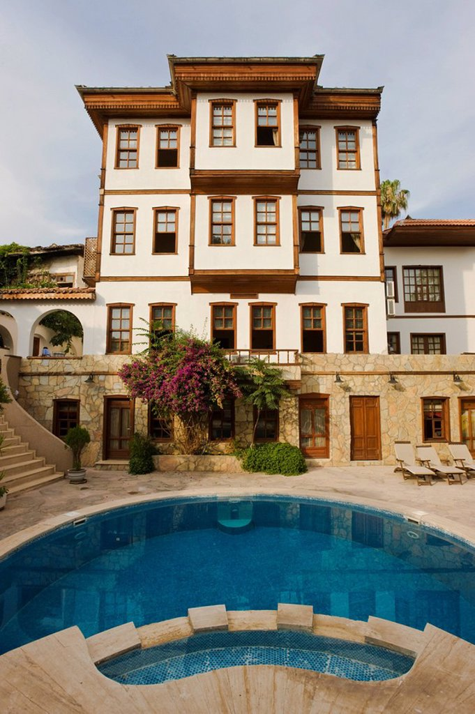 Typical Ottoman house in the historic district of Kaleici, Antalya, Anatolia, Turkey : Stock Photo