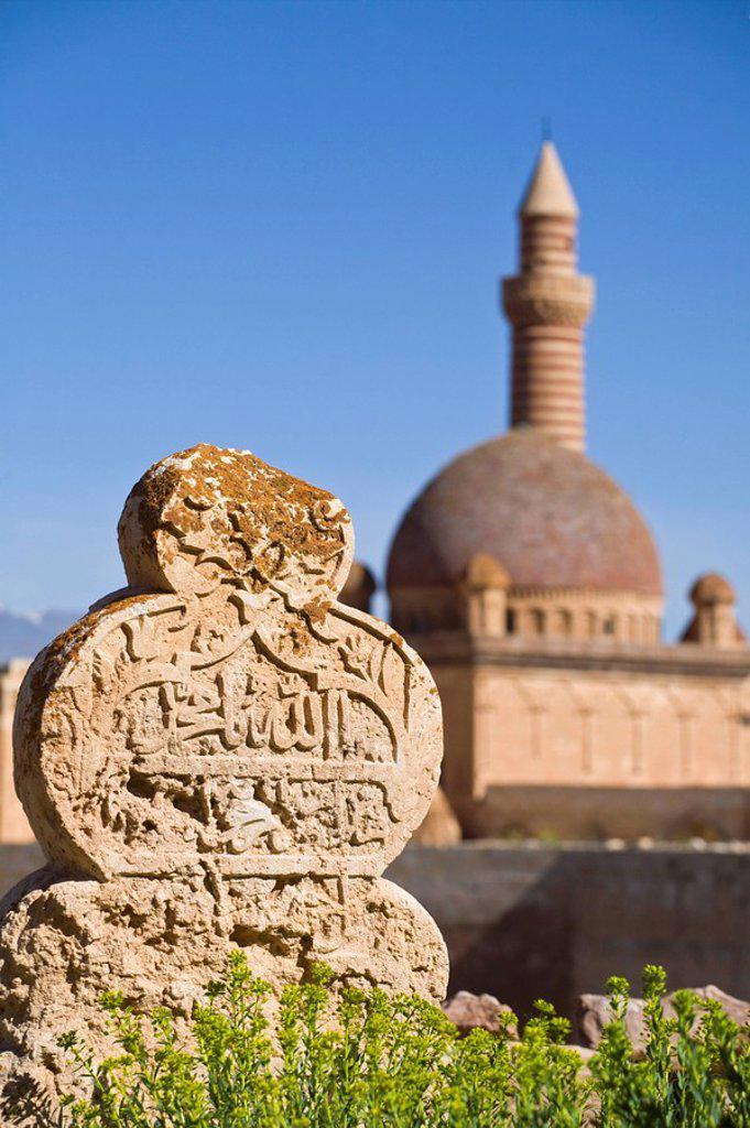 Stock Photo: 1609-40659 Turkey, Eastern Turkey, Dogubayazit, Ishak Pasa Palace and Selcuk graveyard