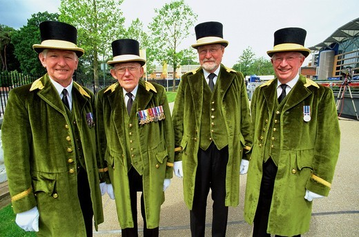 England, Ascot, Greencoats at Royal Ascot Races : Stock Photo