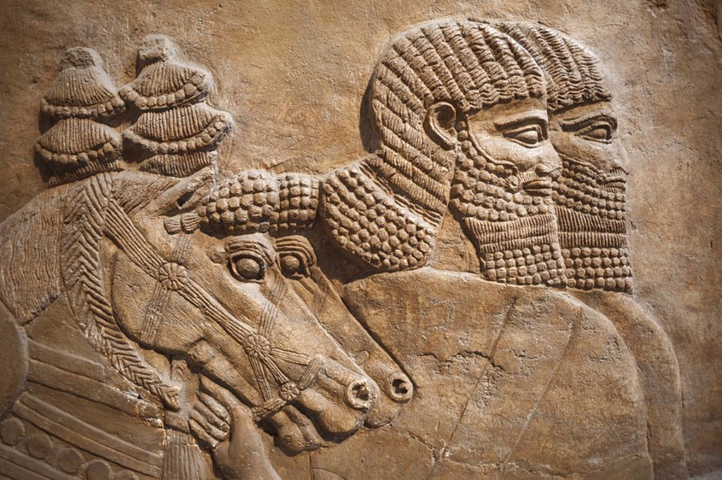 Stock Photo: 1609-41569 England, London, British Museum, Assyrian Relief from Nimrud showing Horses and Horsemen of the Royal Chariot 725BC