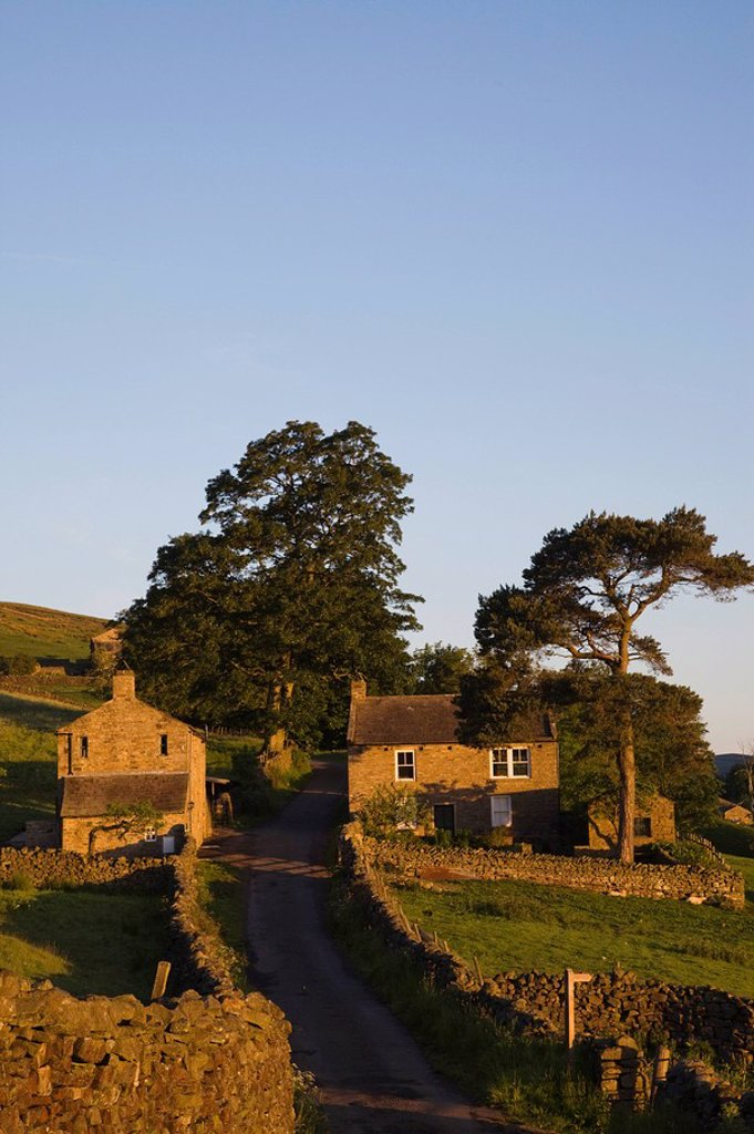 England, Yorkshire, Yorkshire Dales, Swaledale, Country Road and Houses : Stock Photo