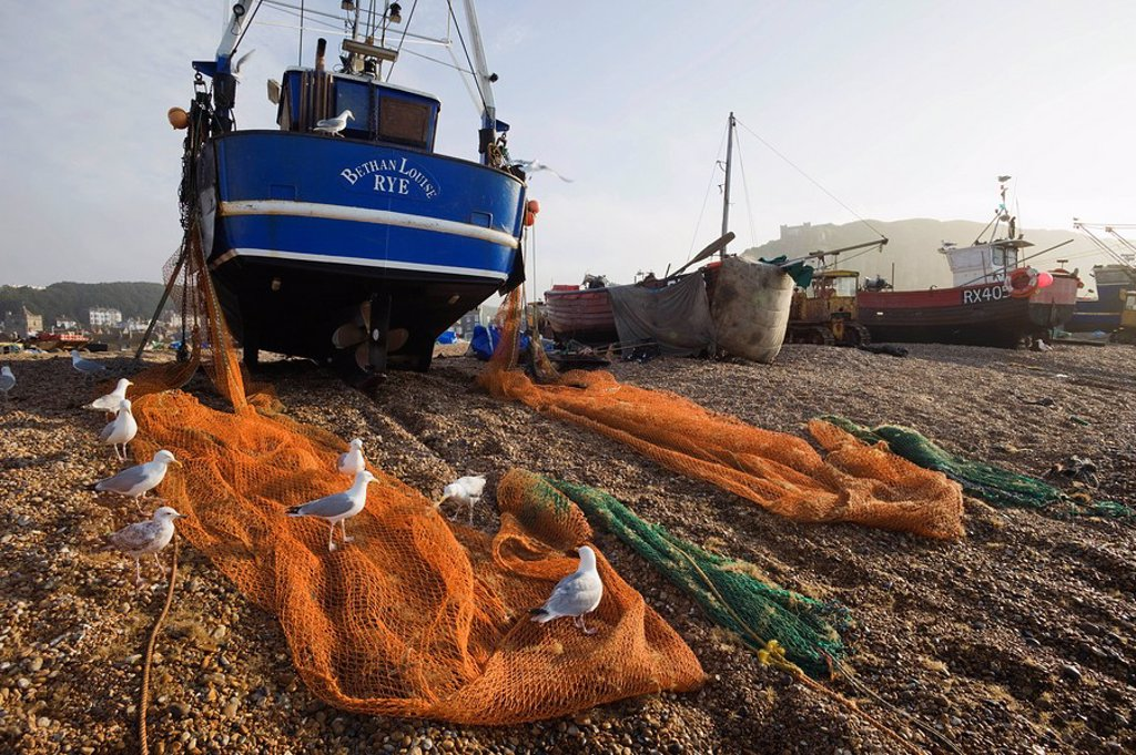Stock Photo: 1609-41906 England, East Sussex, Hastings, The Stade, Shore Based Fishing Boats on Beach