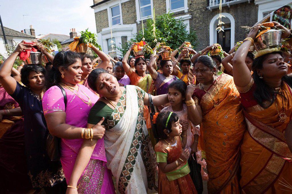 England, London, Ealing, Shri Kanaga Thurkkai Amman Temple, Chariot Festival Participants : Stock Photo