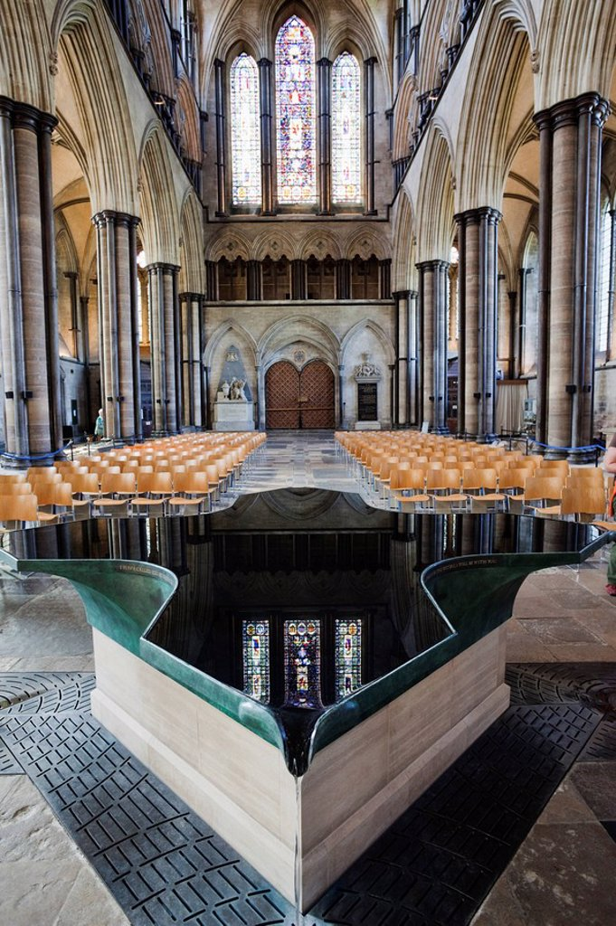 Stock Photo: 1609-42211 England, Wiltshire, Salisbury Cathedral, The Font designed by William Pye in 2010