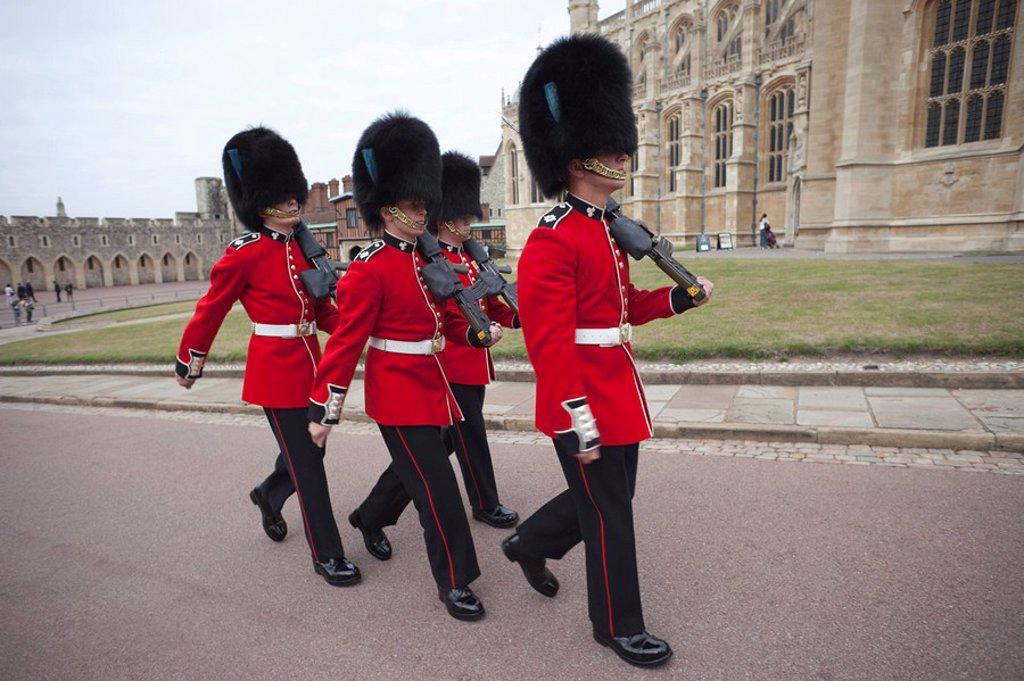 England, Berkshire, Windsor, Guards in Windsor Castle : Stock Photo