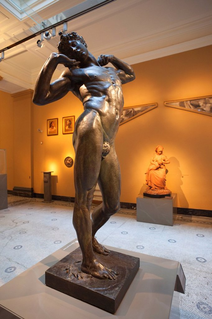England, London, Victoria and Albert Museum, Statue titled The Sluggard by Lord Leighton 1885 : Stock Photo