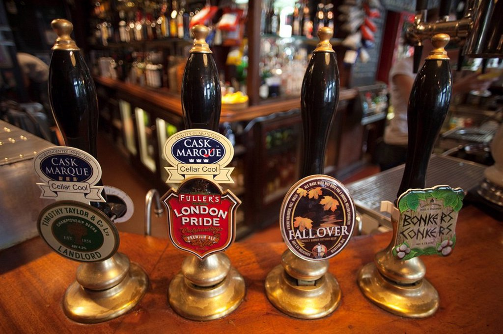 England, London, Beer Pump Handles : Stock Photo
