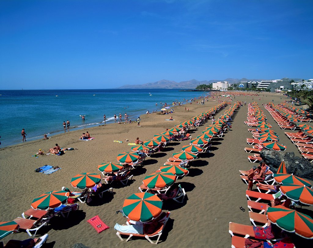 Stock Photo: 1609-43101 Spain, Canary Islands, Lanzarote, Puerto Del Carmen Beach