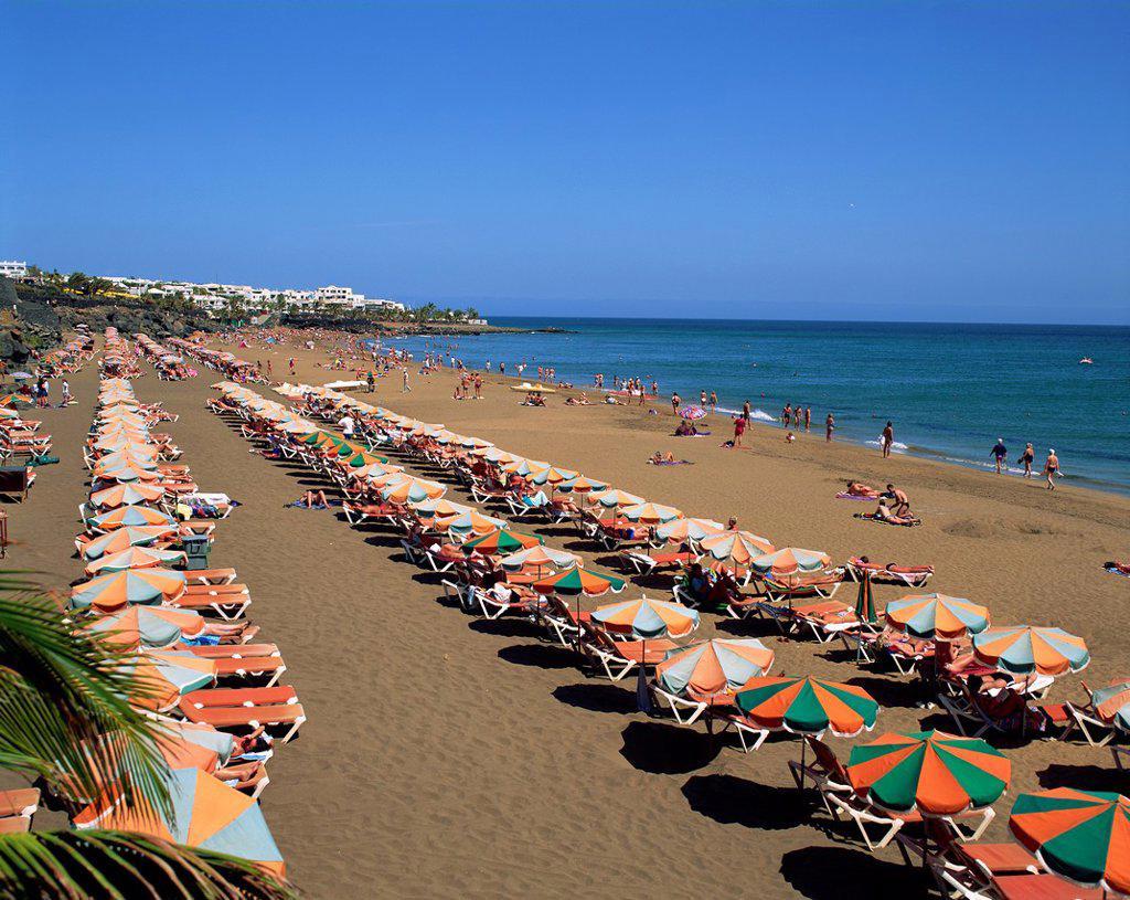 Spain, Canary Islands, Lanzarote, Puerto Del Carmen Beach : Stock Photo