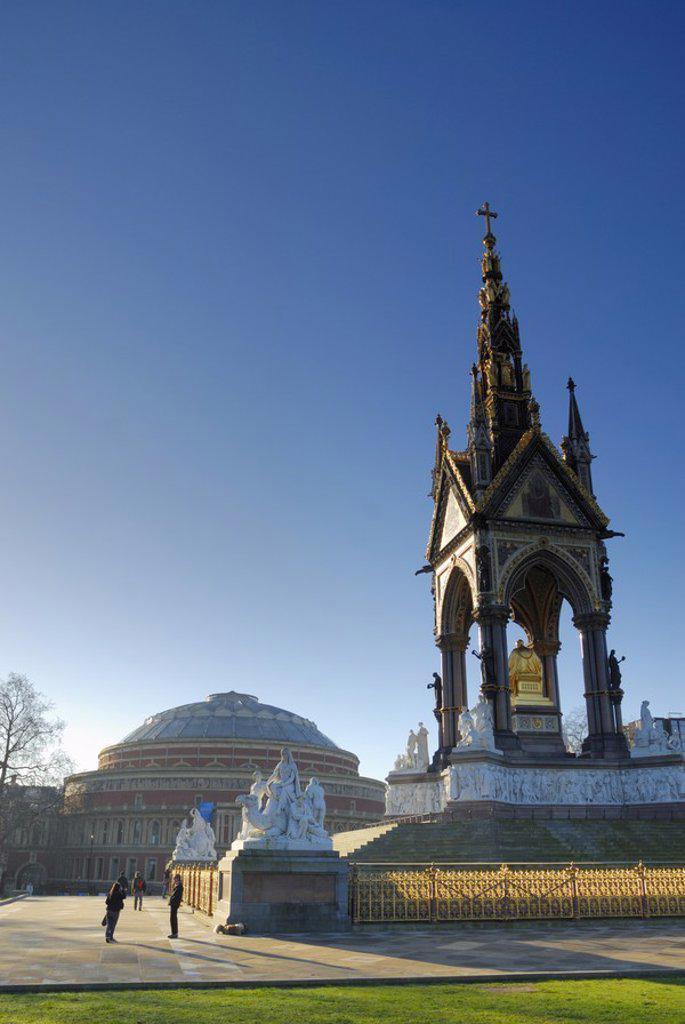 Stock Photo: 1609-43347 Royal Albert Hall & Albert Memorial, Kensington, London, England
