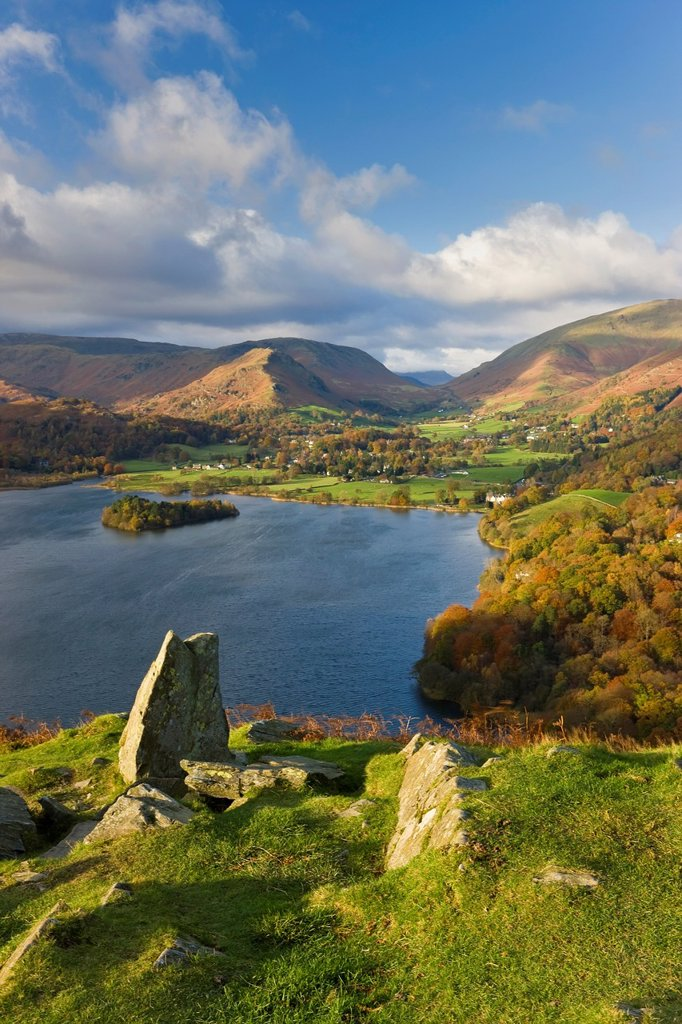Grasmere lake and village from Loughrigg Fell, Lake District, Cumbria, England : Stock Photo