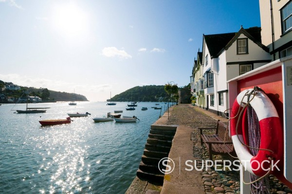 Stock Photo: 1609-43971 UK, Devon, Dartmouth, Bayard´s Cove and River Dart, life ring