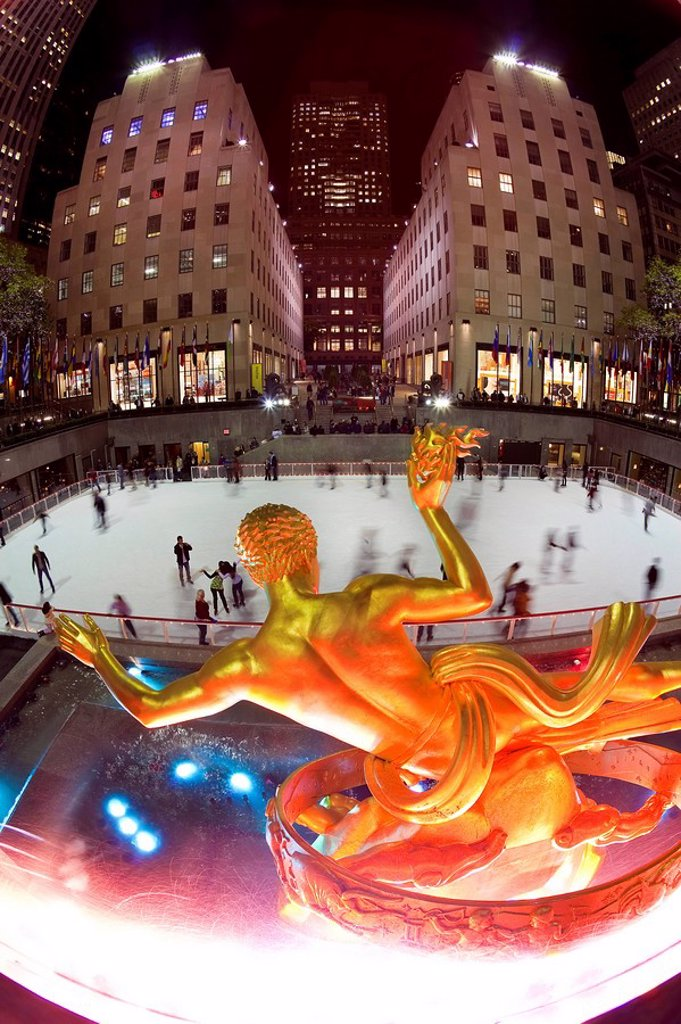 USA, New York City, Manhattan, Ice Skating Rink below the Rockefeller Center building on Fifth Avenue : Stock Photo