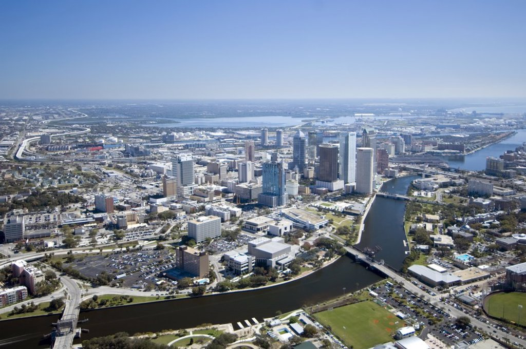 Stock Photo: 1609-44615 Aerial view over Tampa, Florida, USA