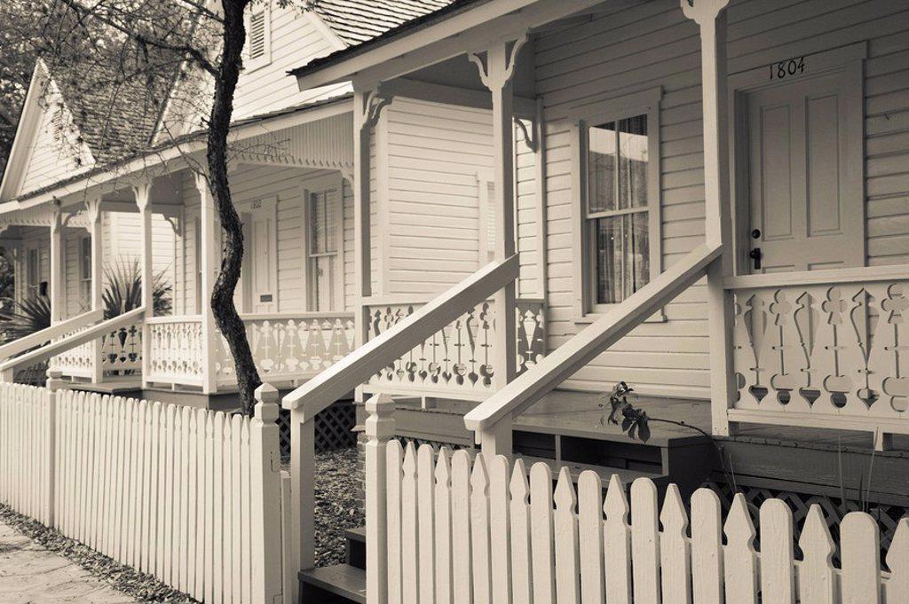 USA, Florida, Tampa, Ybor City, Cuban Heritage Area, Centennial Park, Row Houses : Stock Photo
