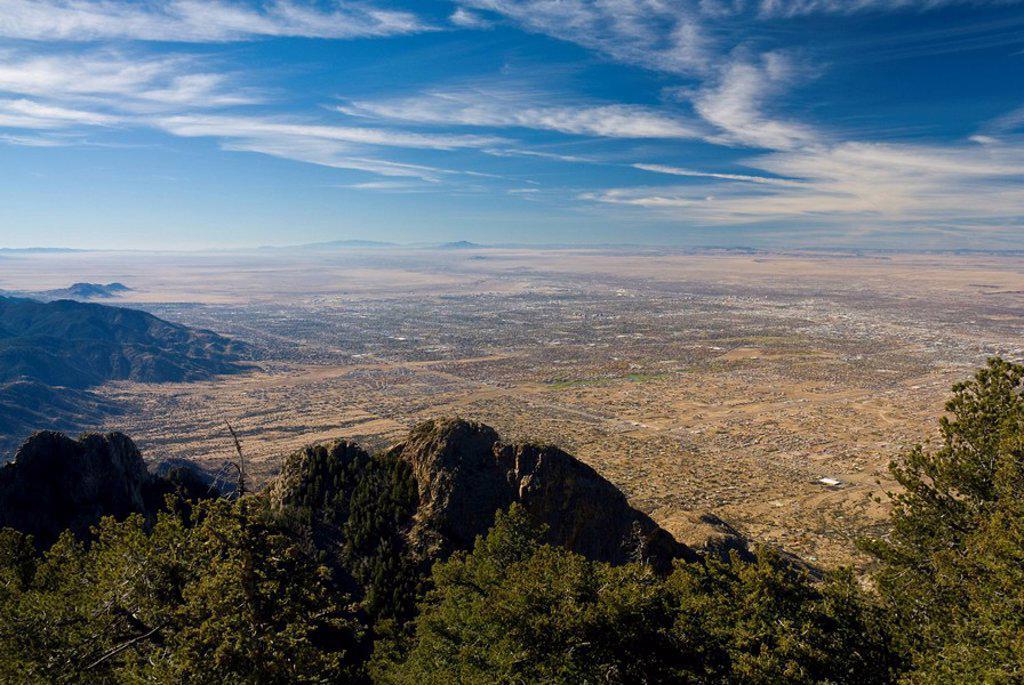 Stock Photo: 1609-45047 USA, New Mexico, Albuquerque from Sandia Mountains