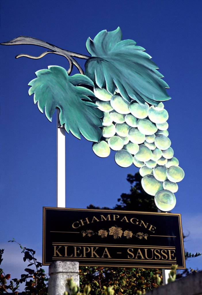 Stock Photo: 1609-4725 Vineyard sign, Champagne, France